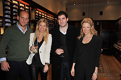 Left to right,  CARLO CARELLO, LAURIE FIELD, ZAFAR RUSHDIE and CATHERINE RHIND at a party to celebrate the paperback publication of Lucky Break by leading trainer Paul Nicholls held at Thomas Pink, 85 Jermyn Street, London on 23rd February 2011.