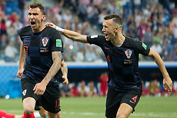 July 1, 2018 - Nizhny Novgorod, Russia - Mario Mandzukic and Ivan Perisic of Croatia celebrate during the 2018 FIFA World Cup Russia Round of 16 match between Croatia and Denmark at Nizhny Novgorod Stadium on July 1, 2018 in Nizhny Novgorod, Russia. (Credit Image: © Foto Olimpik/NurPhoto via ZUMA Press)