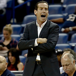 Jan 20, 2017; New Orleans, LA, USA; Brooklyn Nets head coach Kenny Atkinson against the New Orleans Pelicans during the first quarter of a game at the Smoothie King Center. Mandatory Credit: Derick E. Hingle-USA TODAY Sports