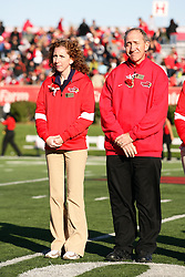 15 October 2011: Rachel and Mike Lockett during an NCAA football game between the University of South Dakota Coyotes and the Illinois State Redbirds (ISU) at Hancock Stadium in Normal Illinois.