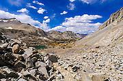 Bishop Lake from the Bishop Pass Trail, John Muir Wilderness, Sierra Nevada Mountains, California USA