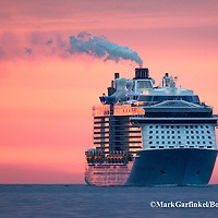 05/19/2016-Boston,MA. The ocean liner Anthem of the Seas enters Boston Harbor, just after Thursday morning's sunrise. Staff photo by Mark Garfinkel
