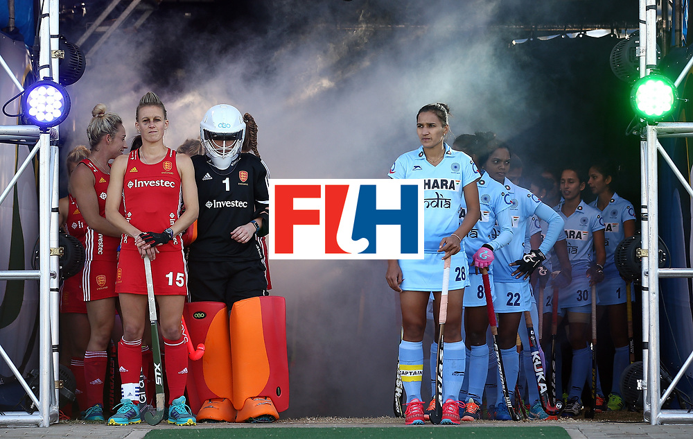 JOHANNESBURG, SOUTH AFRICA - JULY 18:  Alex Danson of England and Rani of India wait in the players tunnel with their teams during day 6 of the FIH Hockey World League Women's Semi Finals quarter final match between England and India at Wits Univesity on July 18, 2017 in Johannesburg, South Africa.  (Photo by Jan Kruger/Getty Images for FIH)
