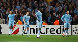 MANCHESTER, ENGLAND - Wednesday, September 14, 2011: Manchester City's Samir Nasri reacts following SSC Napoli's goal during the UEFA Champions League Group A match at the City of Manchester Stadium. (Photo by Chris Brunskill/Propaganda)