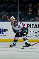 KELOWNA, CANADA - JANUARY 9: Liam Kindree #26 of the Kelowna Rockets lines up for the face-off against the Everett Silvertips on January 9, 2019 at Prospera Place in Kelowna, British Columbia, Canada.  (Photo by Marissa Baecker/Shoot the Breeze)