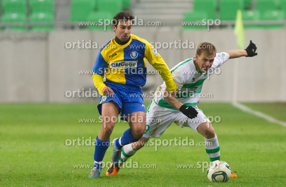 Marijo Mocic of Celje vs Dorde Ivelja of Olimpija during football match between NK Olimpija Ljubljana and CM Celje of 19th Round of PrvaLiga 2011/2012, on November 23, 2011 in SRC Stozice, Ljubljana, Slovenia.  (Photo By Vid Ponikvar / Sportida.com)