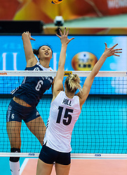 14-10-2018 JPN: World Championship Volleyball Women day 15, Nagoya<br /> China - United States of America 3-2 / Kimberly Hill #15 of USA, Xiangyu Gong #6 of China