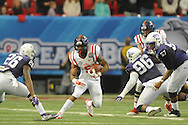 Ole Miss running back I'Tavius Mathers (5) vs. TCU in the Peach Bowl, in Atlanta, Ga. on Wednesday, December 31, 2014.