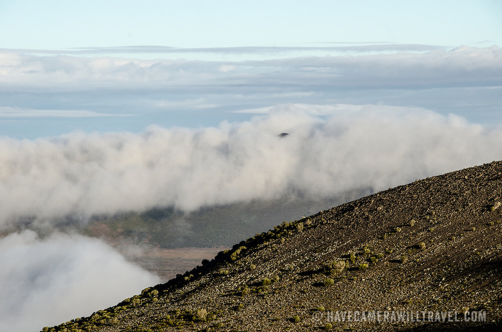 Looking down at the clouds below from from Moir Hut Camp (13,660 feet) on Mt Kilimanjaro's Lemosho Route.