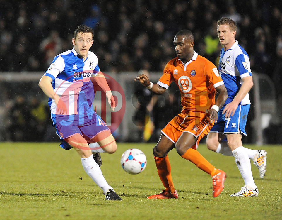 Bristol Rovers' Tom Lockyer is challenged by Braintree Town's Simeon Akinola - Photo mandatory by-line: Neil Brookman/JMP - Mobile: 07966 386802 - 24/02/2015 - SPORT - Football - Bristol - Memorial Stadium - Bristol Rovers v Braintree - Vanarama Football Conference
