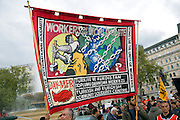 May Day march and rally at Trafalgar Square, May 1st, 2010 Workers of the World Unite banner