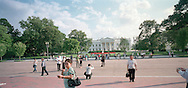 Tourists outside the White House three days before the Wall Street crash of 2008. Photograph by Roger M. Richards
