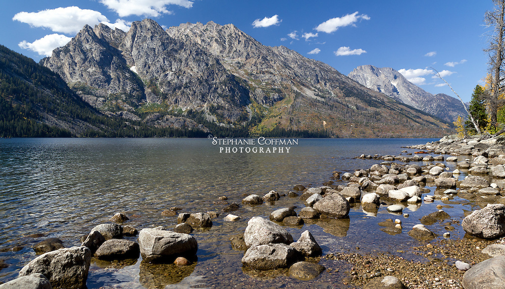 Jenny Lake is a glacial lake at the base of Cascade Canyon in Grand Teton National Park, Wyoming