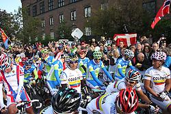 Peloton before start during the Men's Elite Road Race at the UCI Road World Championships on September 25, 2011 in Copenhagen, Denmark. (Photo by Marjan Kelner / Sportida Photo Agency)