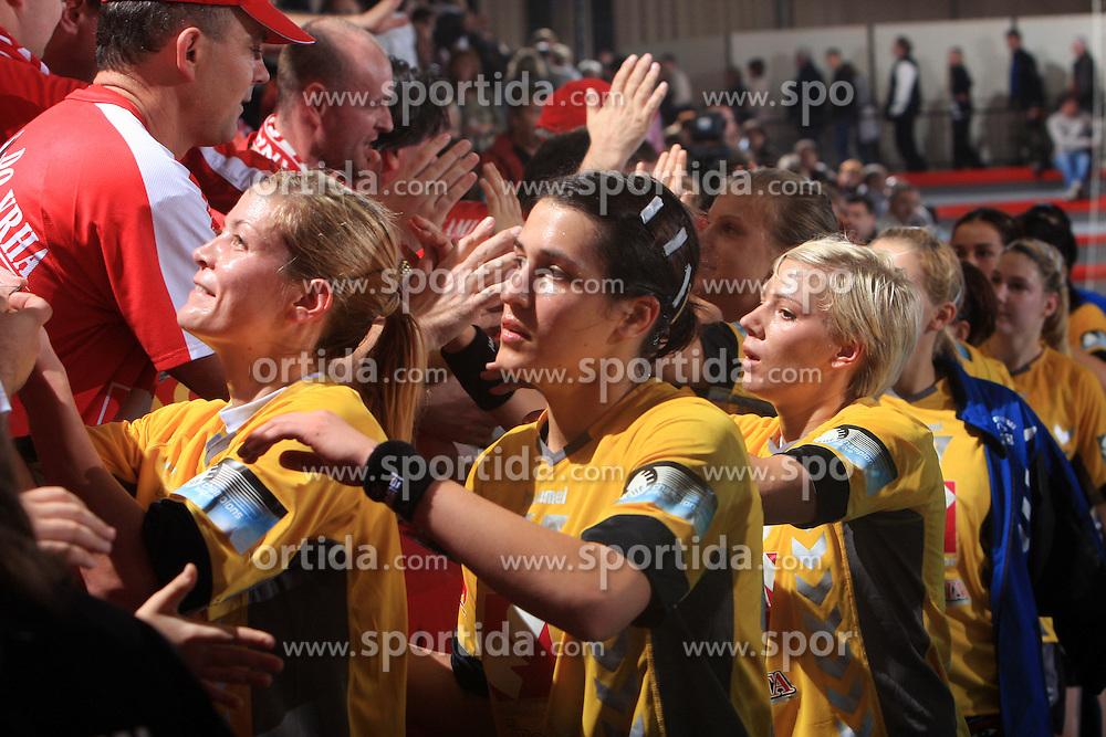 Team of Krim Mercator after handball match of 2nd Round of EHF Women`s Championsleague between RK Krim Mercator (SLO) and Metz Handball (FRA), in Arena Kodeljevo, Ljubljana, Slovenia, on November 9, 2008. Metz  won match against RK Krim Mercator with 31:26.