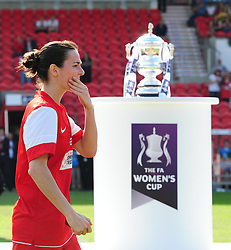 Bristol Academy's Natalia Pablos Sanchon walks past the FA Cup - Photo mandatory by-line: Joseph Meredith/JMP - Tel: Mobile: 07966 386802 - 26/05/2013 - SPORT - FOOTBALL - Keepmoat Stadium - Doncaster . Arsenal Ladies v Bristol Academy WFC - The FA Women's Cup.