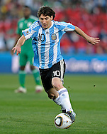 Argentina's forward Lionel Messi controls the ball in during the World Cup South Africa 2010 soccer match against Nigeria, at Soccer City stadium, in Johannesburgo, South Africa, on June 12, 2010.  (Alejandro Pagni/PHOTOXPHOTO)