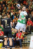 rechts Tim Kneule (FAG) beim Sprungwurf, links Marcel Hess (Pfadi)