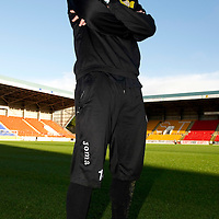 Kevin Moon with Hummel boots<br /> Picture by Graeme Hart.<br /> Copyright Perthshire Picture Agency<br /> Tel: 01738 623350  Mobile: 07990 594431