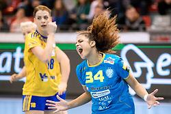 Lamprini Tsakalou of RK Krim Mercator screams during handball match between RK Krim Mercator and Vistal Gdynia in Group Matches of Women's EHF Champions League 2017/18, on November 4, 2017 in Arena Kodeljevo, Ljubljana, Slovenia. Photo By Matic Klansek Velej / Sportida