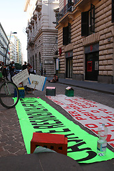 July 3, 2017 - Naples, Campania/Napoli, Italy - Members of the movement for the right to housing held a meeting in Piazza Municipio in Napoli protest  for the right of living ''Magnammece O pesone' (Credit Image: © Salvatore Esposito/Pacific Press via ZUMA Wire)