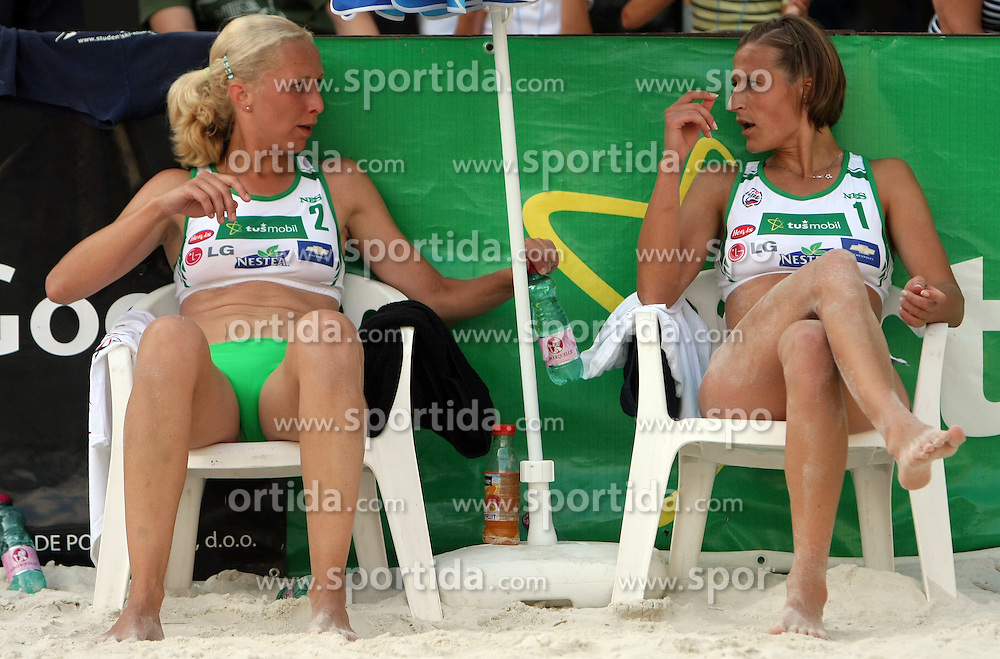 Vesna Puketa and Ursa Podlesnik (SPORT Caffee SKK Team) at qualifications for 14th National Championship of Slovenia in Beach Volleyball and also 4th tournament of series TUSMOBIL LG presented by Nestea, on July 25, 2008, in Kranj, Slovenija. (Photo by Vid Ponikvar / Sportal Images)/ Sportida)