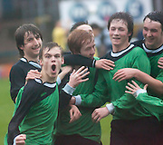 Connor McLeod (front left) is congratulated after scoring Dundee's opener - Dundee v Forth Valley, Scottish Schools FA Senior Cup Final at Dens Park..© David Young - 5 Foundry Place - Monifieth - DD5 4BB - Telephone 07765 252616 - email: davidyoungphoto@gmail.com - web: www.davidyoungphoto.co.uk