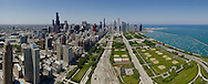 Panoramic view  of downtown Chicago Illinois overlooking Grant Park and Lake Michigan