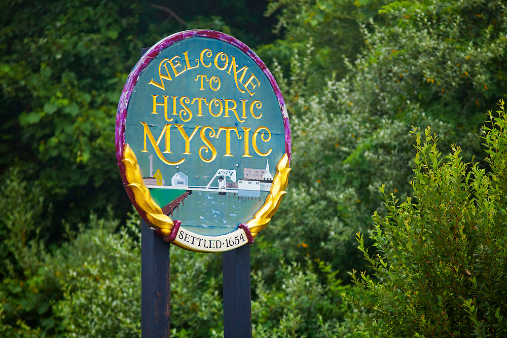 351021-1000G.Huey ~ Copyright: George H.H. Huey ~ 'Welcome to Historic Mystic' sign at edge of town. Mystic, Connecticut.