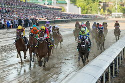 Lookin At Lee with Corey J. Lanerie up, left, and Always Dreaming with John R. Velazquez up lead as the pack of 20 race under the twin spires for the first time in the 143rd running of the Kentucky Derby at Churchill Downs May 6, 2017. Always Dreaming with John R. Velazquez up won the race.