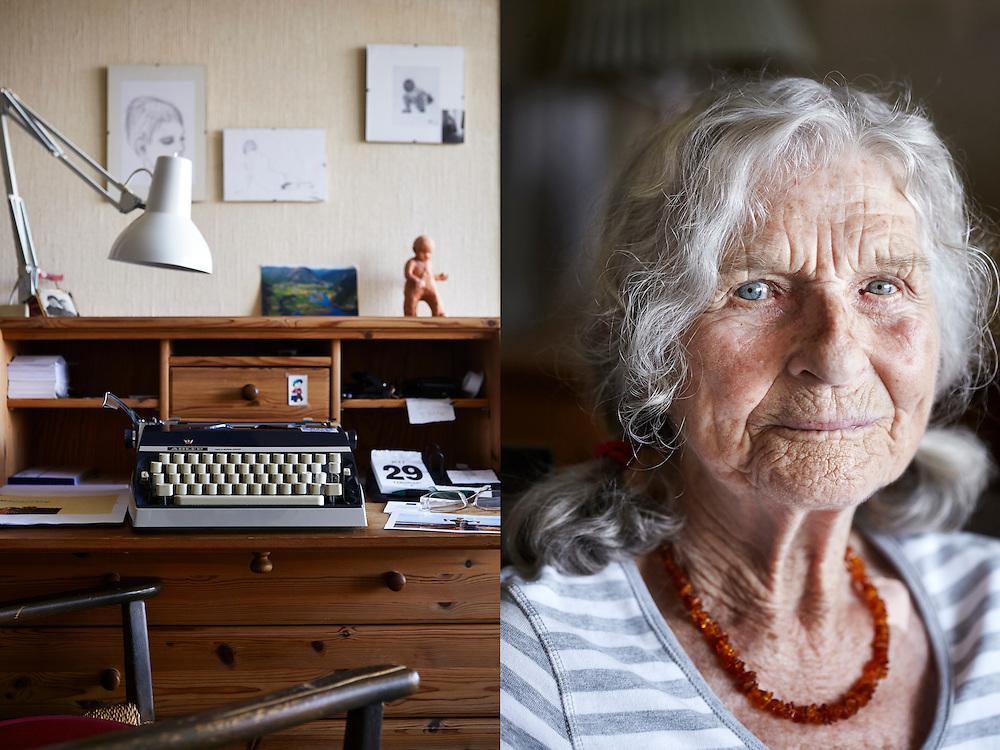 """Oslo, 20140729<br /> Tysk-norske Gitte Haug (85) debuterer med boken """"Kvinner i Krig"""" på Oktober forlag. Vi besøker henne hjemme på Grefsen.<br /> Foto: Paul Paiewonsky / Dagbladet MAGASINET"""