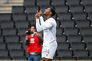 Milton Keynes Dons striker Kieran Agard (14) scores a goal and celebrates 1-0 during the EFL Sky Bet League 1 match between Milton Keynes Dons and Shrewsbury Town at stadium:mk, Milton Keynes, England on 25 February 2017. Photo by Dennis Goodwin.