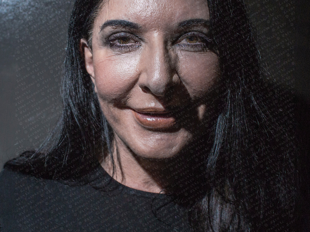 """Maria Abramovic, poses for a portrait for her ,,With Eyes Closed I See Happiness ? ,, exhibition at Galerie Krinzinger in Vienna. Abramovic work explores the relationship between performer and audience, the limits of the body, and the possibilities of the mind. At her latest MoMA's exhibit ,,Marina Abramovic: The Artist Is Present,, she attempt to go the limit, and also to reproduce literally the metaphysical interchange between artists and viewers.between performer and audience, the limits of the body, and the possibilities of the mind. At her latest MoMA's exhibit """"Marina Abramovic: The Artist Is Present"""" she attempt to go the limit, and also to reproduce literally the metaphysical interchange between artists and viewers."""