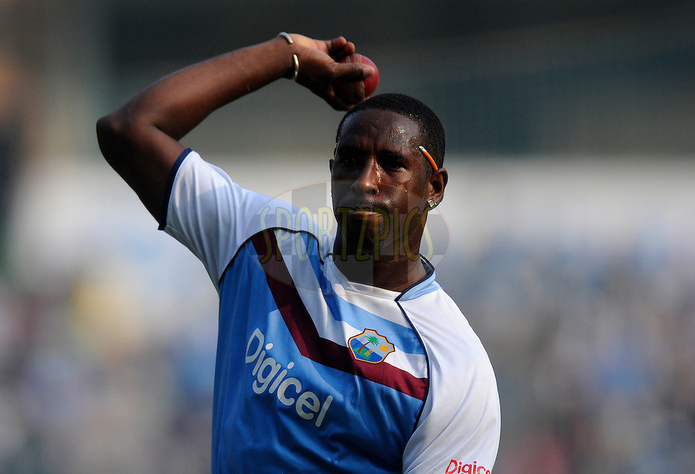 Shane Shillingford of West Indies before the start of the play on day two of the second Star Sports test match between India and The West Indies held at The Wankhede Stadium in Mumbai, India on the 15th November 2013<br /> <br /> This test match is the 200th test match for Sachin Tendulkar and his last for India.  After a career spanning more than 24yrs Sachin is retiring from cricket and this test match is his last appearance on the field of play.<br /> <br /> <br /> Photo by: Pal PIllai - BCCI - SPORTZPICS<br /> <br /> Use of this image is subject to the terms and conditions as outlined by the BCCI. These terms can be found by following this link:<br /> <br /> http://sportzpics.photoshelter.com/gallery/BCCI-Image-Terms/G0000ahUVIIEBQ84/C0000whs75.ajndY