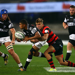 DURBAN, SOUTH AFRICA, 12 August, 2016 - Jeremy Ward (C) of the EP Kings 21's tackling Ruben De Vos of the Cell C Sharks Under 21's during the match between The Cell C Sharks U21 and EP U21 Currie Cup Under 19 Competition at Growthpoint Kings Park in Durban, South Africa. (Photo by Steve Haag)<br /> <br /> images for social media must have consent from Steve Haag