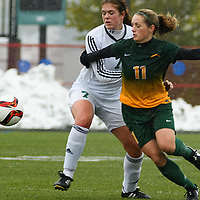 5th year midfielder Karlee Vorrieter (11) of the Regina Cougars in action during the Women's Soccer  road trip to Saskatoon on October 9 at Griffiths Stadium. Credit: Arthur Ward/Arthur Images