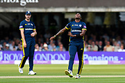 Fidel Edwards of Hampshire shows his frustration after an expensive over during the Royal London 1 Day Cup Final match between Somerset County Cricket Club and Hampshire County Cricket Club at Lord's Cricket Ground, St John's Wood, United Kingdom on 25 May 2019.
