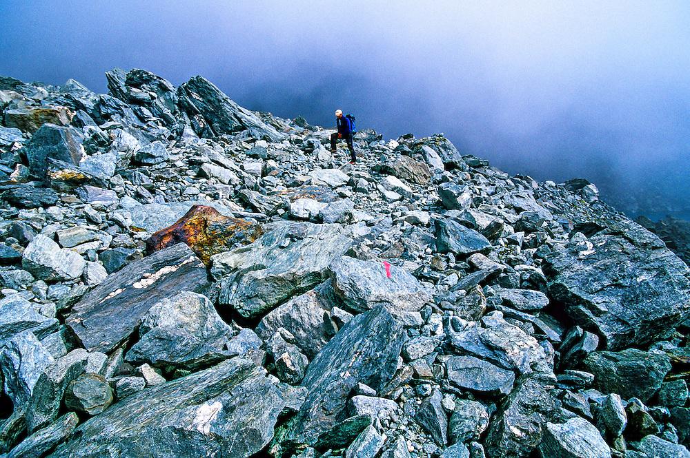 Hiking up Col de la Chaux, Haute Route (near Verbier), Switzerland