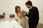 HARRY BLAIN; NATALIA VODIANOVA; ANTOINE ARNAUD WITH BUTTERFLIES, Damien Hirst, Tate Modern: dinner. 2 April 2012.