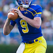 Delaware Back up Quarterback Tim Donnelly #9 drops back in the pocket during a Week 2 NCAA football game against Westchester in the second quarter as  #8 Delaware leads Westchester 21-10 at halftime in their home opener at Delaware Stadium Saturday Sept. 10, 2011 in Newark DE. (Monsterphoto/Saquan Stimpson)