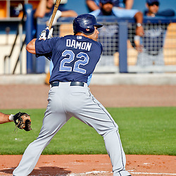 February 25, 2011; Port Charlotte, FL, USA; Tampa Bay Rays left fielder Johnny Damon (22) during a spring training split squad scrimmage at Charlotte Sports Park.  Mandatory Credit: Derick E. Hingle