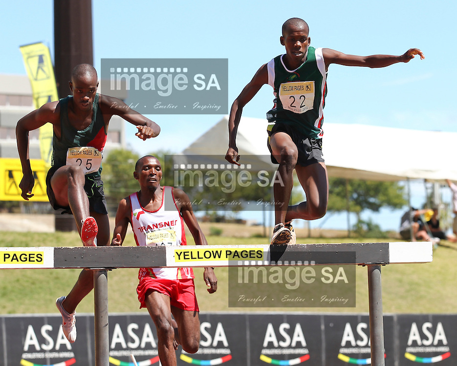 BELLVILLE, SOUTH AFRICA, Saturday 3 March 2012, Dikotsi Lekopa (22) and Edwin Molepo hurdle the water jump in the 3000m steeplechase during the Yellow Pages Interprovincial held at Bellville Stadium stadium, outside Cape Town..Photo by ImageSA/ASA