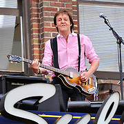 Paul McCartney Plays A Top The Ed Sullivan Theater Marquee During His Appearance On The Late Show With David Letterman.