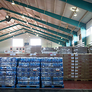 OCTOBER 20 - PONCE, PUERTO RICO - <br /> Donated water and MRE's in a distribution center in a sports arena in the Southern town of Ponce, the 2nd largest city in Puerto Rico. <br /> (Photo by Angel Valentin/Freelance)