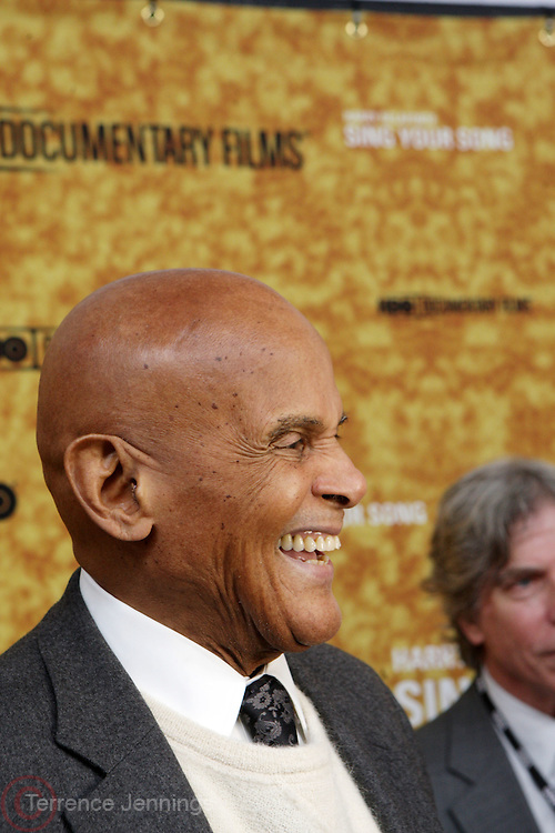 """New York, NY- October 6: Actor Harry Belafonte at the HBO Premiere of """" Sing Your Song"""" chronicling the life & iconic career of legendary entertainer & civil rights hero Harry Belafonte held at the Apollo Theater on October 6, 2011 in Harlem, New York City. Photo Credit: Terrence Jennings"""