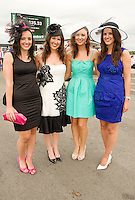Daniella Keoghan, Blackrock, Cork, Elaine Cronin, Ballincollig , Melanie Kinsella, Blackrock, Cork and  Aisling Wallace from Ardfort , Kerry  at the Friday evening Meeting of the Galway Races. Photo:Andrew Downes..