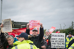 © Licensed to London News Pictures. 11/10/2017. Lancashire, UK.  Protesters at the Anti-Fracking Demonstration in Kirby Misperton, Yorkshire. The protest blocked the entrance to Third Energy's Hydraulic fracking site after they were granted permission to set up their drilling rig at the site.  Photo credit: Steven Speed/LNP