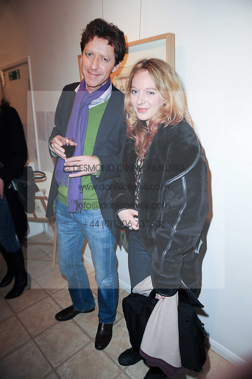 JONNY CORNWALL and FLORENCE ? at a private view of art by William Roper-Curzon entitled 'The Gathering' held at Aretha Campbell Fine Art, 3 Bedfordbury Place, London on 23rd February 2010.