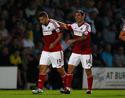 Fulham's Adel Taarabt celebrates the opening goal-Photo mandatory by-line: Matt Bunn/JMP - Tel: Mobile: 07966 386802 27/08/2013 - SPORT - FOOTBALL - Pirelli Stadium - Burton - Burton Albion V Fulham -  Capital One Cup - Round 2
