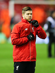 Alberto Moreno of Liverpool warms up - Mandatory byline: Matt McNulty/JMP - 02/03/2016 - FOOTBALL - Anfield - Liverpool, England - Liverpool v Manchester City - Barclays Premier League